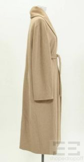 MaxMara Beige Angora Wool Full Length Belted Coat Size US 8