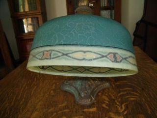 1917 Bellova Mcfaddin Table Lamp Light Reverse Painted Verdelite Shade