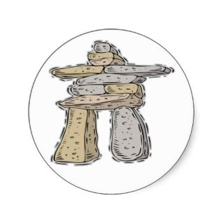 Native American Indian Rock Sculpture Round Stickers