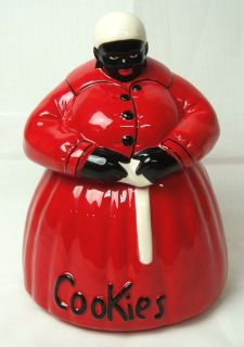 McCoy Black Americana Mammy Red Cookie Jar