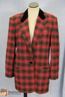 Womens J. McLaughlin for Sanyo Red Tartan Plaid Suit Jacket Blazer