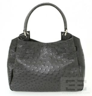 Mauro Governa for Suarez Black Ostrich Leather Shoulder Bag