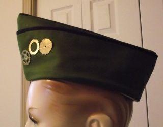 Steampunk Military Garisson Flight Cap Army Green Steam Punk Hat with