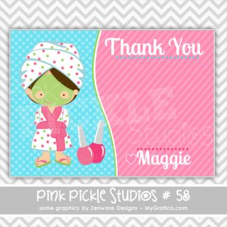Spa Party Personalized Party Invitation or Thank You Card 58
