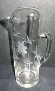 Antique Etched Glass Martini Cocktail Pitcher w Stirrer