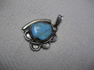 VINTAGE REAL TURQUOISE STERLING SILVER/HECHOE, MEXICO PENDANT IN VERY