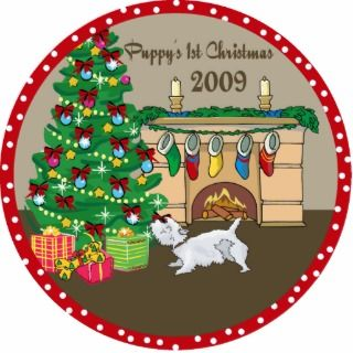 Westie Puppys First Christmas Ornament 2009 Cut Out
