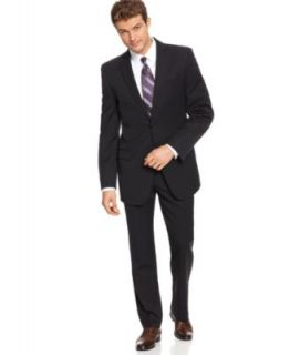 DKNY Suit, Black Solid Slim Fit   Mens