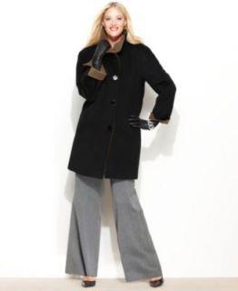 Ellen Tracy Plus Size Coat, Angora Wool Blend A Line