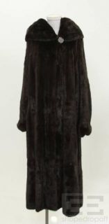 Maximilian Dark Brown Mink Fur Hooded Full Length Coat