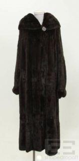 Maximilian Dark Brown Mink Fur Hooded Full Length Coat