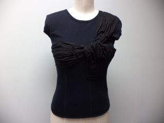 Anthropologie McGinn Black Sweater Knit Bow Short Sleeve Top Womens