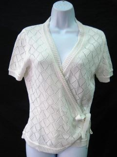 Maya White Cotton Crochet Wrap Sweater Cardigan L