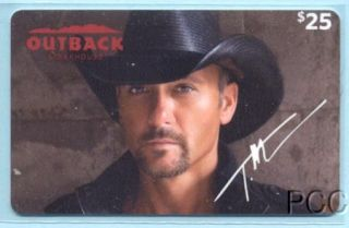 Outback Steakhouse Tim McGraw 2012 Gift Card $0