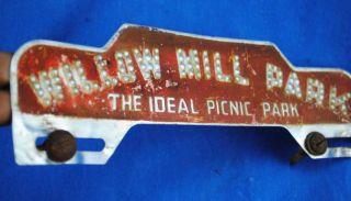 Vtg Mechanicsburg Pennsylvania Willow Mill Park License Plate Badge