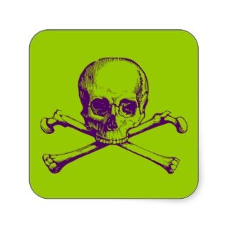 Customizable Vintage Skull & Crossbones Stickers