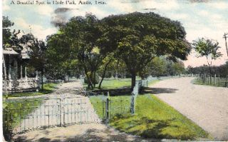 Postcard Hyde Park Street Scene Austin Texas C1910