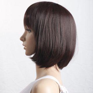 New Popular 15 8 inch Medium Turnup Side Bang Hair Wig Brown Cosplay