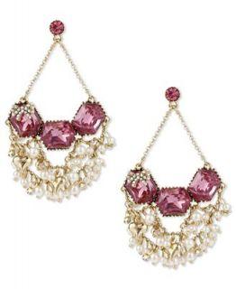 Betsey Johnson Earrings, Gold tone Fuchsia Crystal Cluster Chandelier