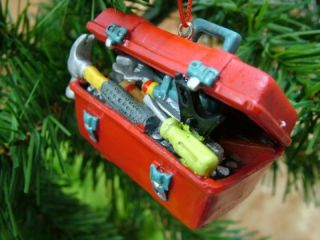 New Red Tool Box Hammer Screw Driver Mechanic Ornament