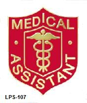 Medical Assistant Professional Caduceus MA Red Shield Emblem Lapel Pin