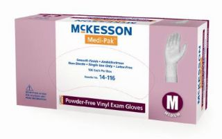1000 McKesson Medical Exam Gloves Vinyl PF Latex Free Smooth Ivory Med