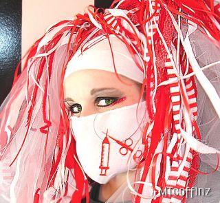 DIY White Cyber Goth Syringe Medical Fetish Mask Rave