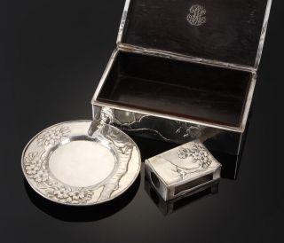 Meiji Period 3pieces  Art Nouveau Japanese solid sterling silver