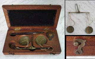 19c Antique Medical Scales Set Boxed w Silver Pincers