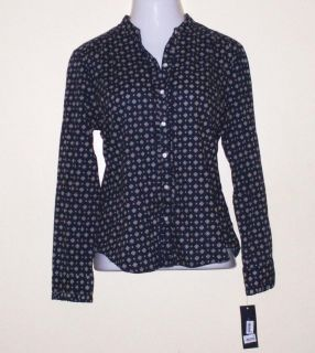 XL Tommy Hilfiger Navy Print Ruffled Long Sleeve Button Up Casual