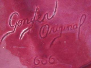 Gonder Original Art Pottery Chartreuse Burgundy Mid Century Modern Red