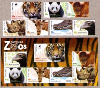 Australia 2012 Australian Zoos 7 Stamps Plus Mini Sheet MNH
