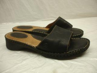 Born Melyssa Black Leather Slides Sandals Shoes Clog Womens Sz 8 Open