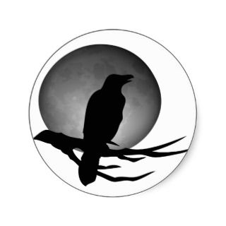 moonlight raven round stickers