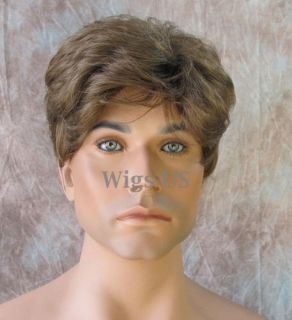 Mens Wigs Trendy Light Brown Mix Short Layered Mens Wig