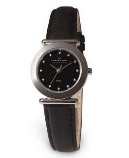 Skagen Denmark Watch, Womens Black Leather Strap 107SSLB