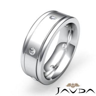 Round Diamond Mens Eternity Wedding Band 7mm Dome Ring 14k Gold White