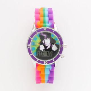 Justin Bieber Multi Colored Tie Dye Jelly LCD Watch