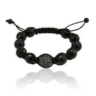 Mens Black Agate Swarovski Shamballa Bead Bracelet