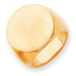 Large Polished Yellow Gold Oval Engraveable Mens Signet Ring
