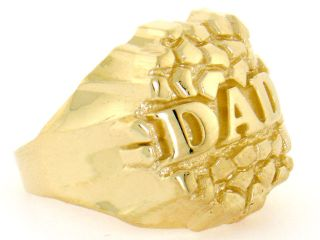 10K Solid Yellow Gold Nugget Dad Mens Ring