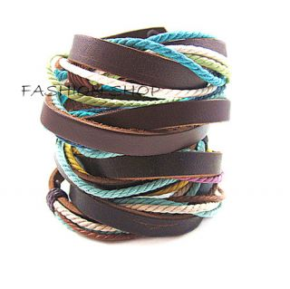 Mens Unisex Punk Cool Rope Weaving Genuine Leather Charm Bracelet