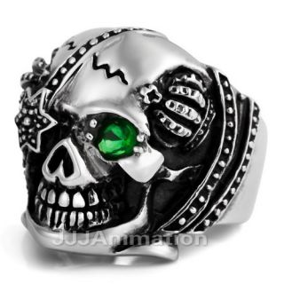 Gothic Skull Mens Stainless Steel Ring VE020 Size 8 12