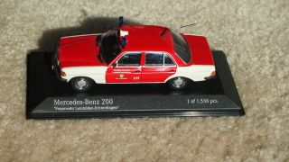 43 Minichamps Mercedes Benz 200 W123 Feuerwehr Fire Chief Car Mint