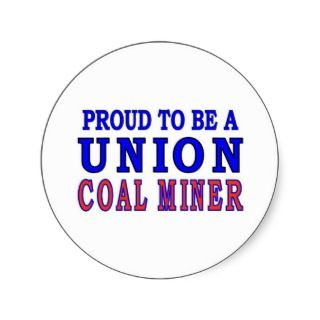 UNION COAL MINER ROUND STICKERS