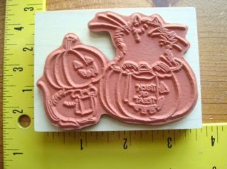New Trick or Treat Kitty Cat in Pumpkin by Penny Black Rubber Stamp