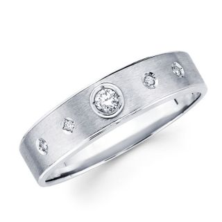 14k White Gold Mens Diamond Wedding Band Ring 0 12ct