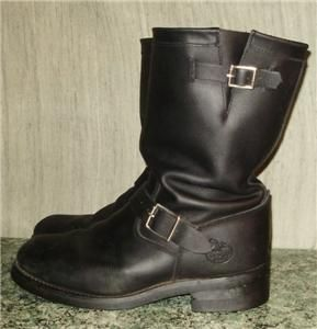 Mens Georgia Boot Black Leather Engineer Motorcycle Boots 9 5