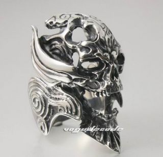 Demon Skull 316L Stainless Steel Cool Men`s Biker Ring 2C050