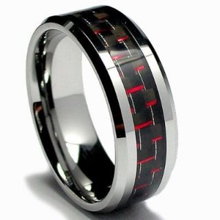 Carbon Fiber Inlay 8mm Mens Tungsten Carbide Ring Wedding Band
